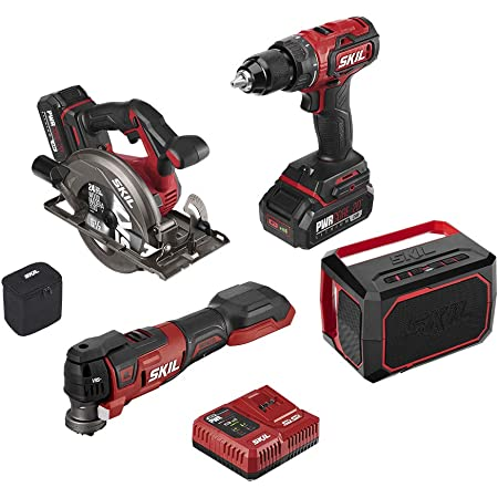 Amazon Com Skil Pwrcore 20 Brushless 20v 4 Tool Combo Kit Drill Driver Circular Saw Oscillating Tool And Speaker Includes One 2 0ah Lithium Battery One 4 0ah Battery And Pwrjump Charger Cb7440 21 Home Improvement