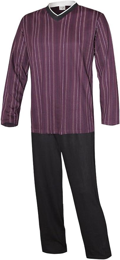 Pijama largo para hombre, de algodón 100%, modelo vintage: Amazon.es: Ropa y accesorios