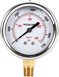 Suuonee Hydraulic Liquid Filled Fuel Pressure Gauge, 0-5000 PSI US Thread Stainless Steel Silver Liquid Filled Pressure Gauge