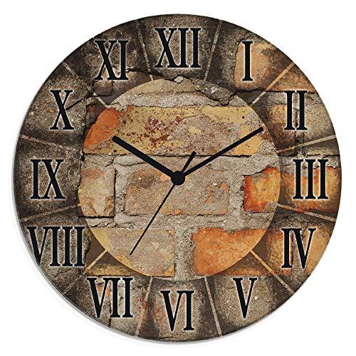 Artland Wanduhr ohne Tickgeräusche Glasuhr rund mit Motiv Design Funkuhr lautlos Größe: Ø 30 cm Antike Uhr Braun S7LZ