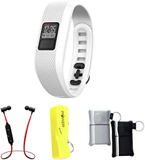Garmin Vivofit 3 Activity Tracker Fitness Band - Regular Fit - White (010-01608-01) with Xtreme Fusion Bluetooth Headphones Black/Red, 2600mAh Keychain Power Bank & Neoprene Pouch