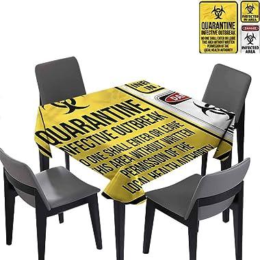 Restaurant Tablecloth Square Tablecloth Danger Quarantine Banquet Decoration 36 x 36 inch