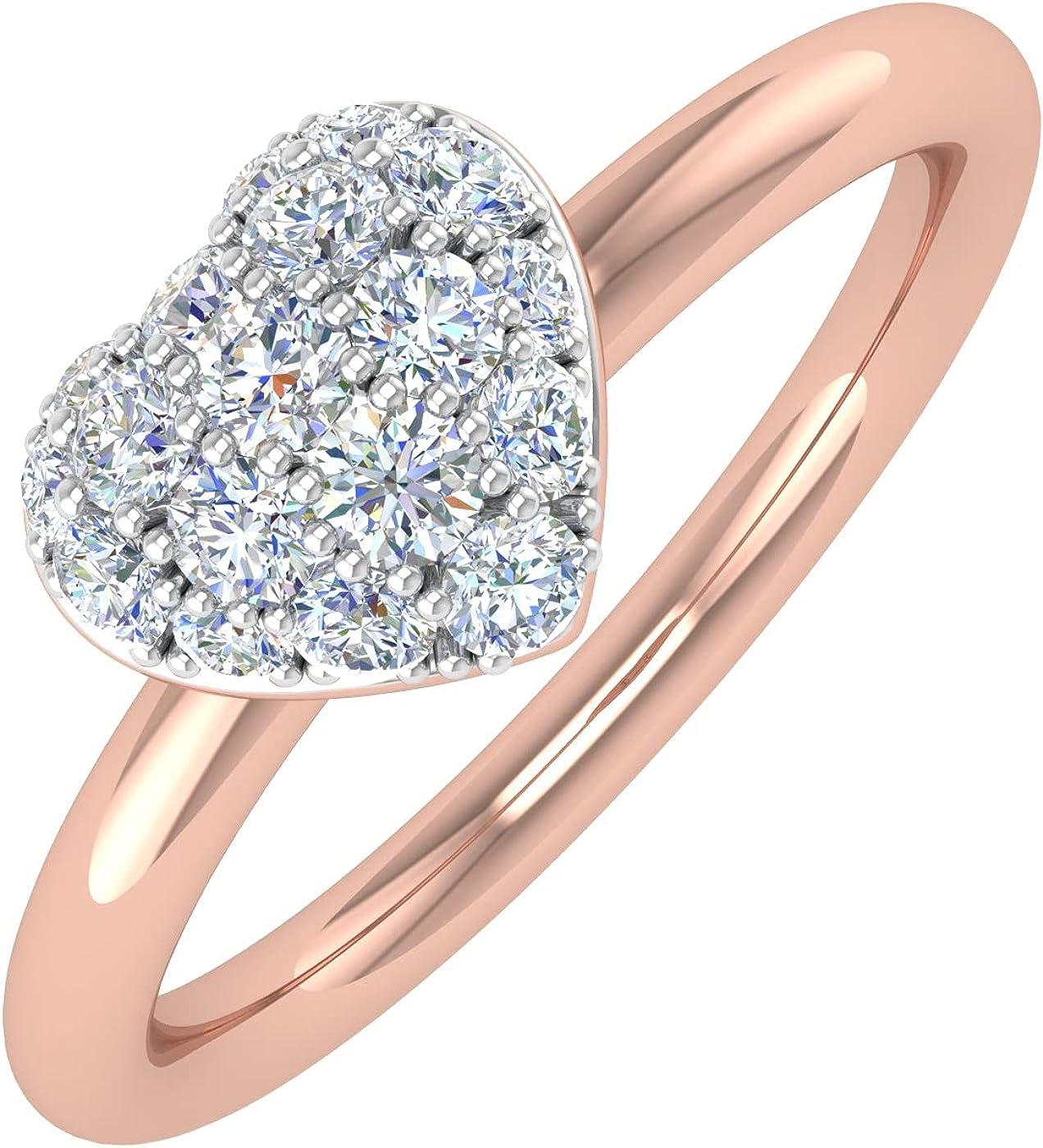 1/4 Carat Diamond Heart-Shaped Promise Ring Bandin 14K Gold