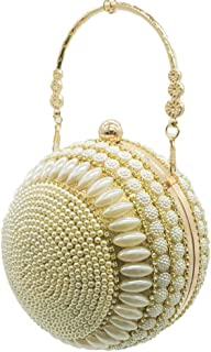 Women's Spherical Evening Bag Round Beaded Pearl Handbag Evening Dress Clutch Bag Banquet Bag Solid Color Gold Size: 15 * 15cm Fashion (Color : Gold)