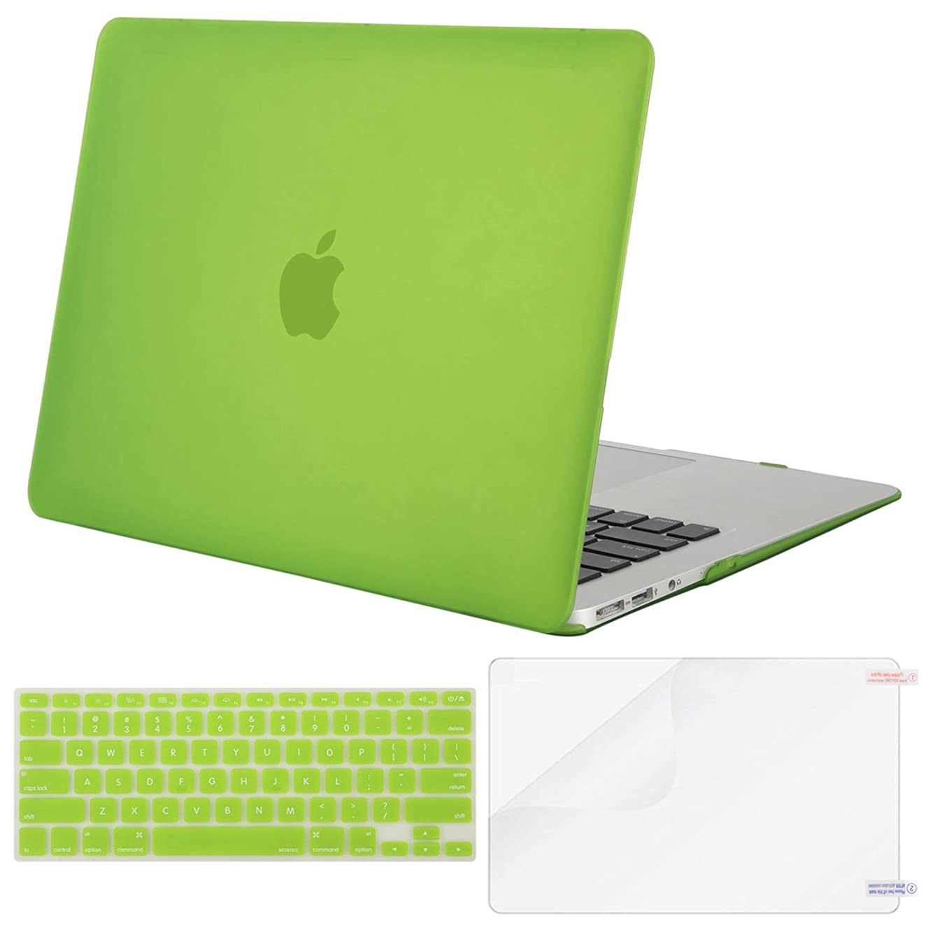 MOSISO Plastic Hard Case & Keyboard Cover & Screen Protector Only Compatible MacBook Air 13 Inch (Models: A1369 & A1466, Older Version 2010-2017 Release),Translucent Greenery