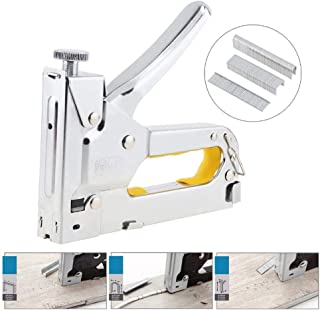 WX Silver Manual Nail Gun, Three-Purpose Nail Staple Gun with 600Pcs Nails, Stapler for Furniture Upholstery Wood Working Tools