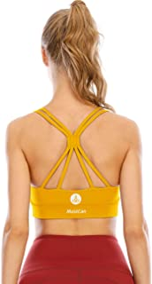 Mustcan Padded Strappy Womens Sports Bras Longline Racerback Medium Support Workout Yoga Tops Running Activewear Bra