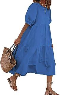 Vestito Estivo Donna Girocollo Maniche 3/4 Abito Elegante Donna Casual Cucitura rétro Sciolto Vestiti Donna da Cocktail