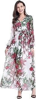 فستان طويل للنساء برقبة على شكل حرف V بأكمام طويلة مطبوع عليه زهور مقاس إضافي