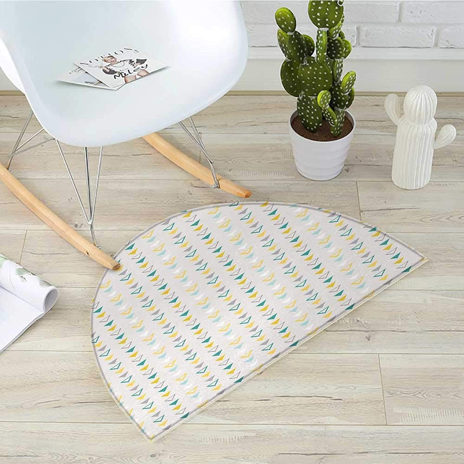 Geometric Half Round Door mats Grunge Geometrical Shapes with Vintage Inspirations Traditional Pattern Classic Bathroom Mat H 39.3  xD 59  Multicolor