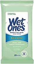 Wet Ones Sensitive Skin Hand Wipes Extra Gentle, 20 Wipes, 2-PaCK