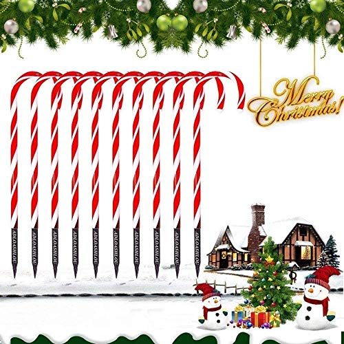 ADLOASHLOU 10 Pezzi Indicatori Luminosi di Natale Candy Cane Pathway, Candy Cane Lights Decorazioni LED Yard Prato Markers Marcatori di Percorso di Caramelle all'aperto Luci Natalizie per Esterni