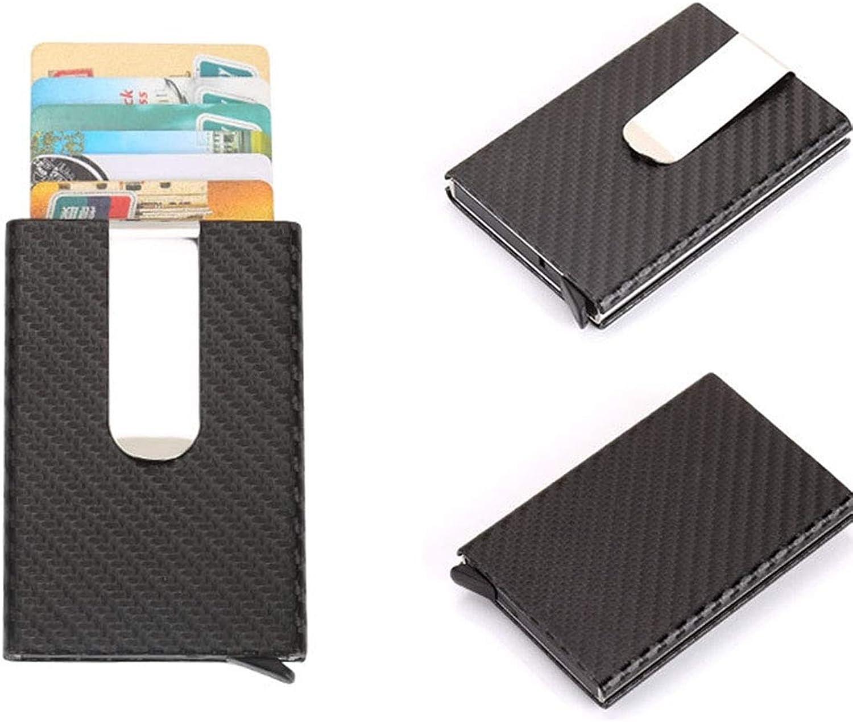 Decoration Antimagnetic Carbon Fiber Solid color Credit Card Holder Money Clip Wallet, Size  10  6.6cm Gift