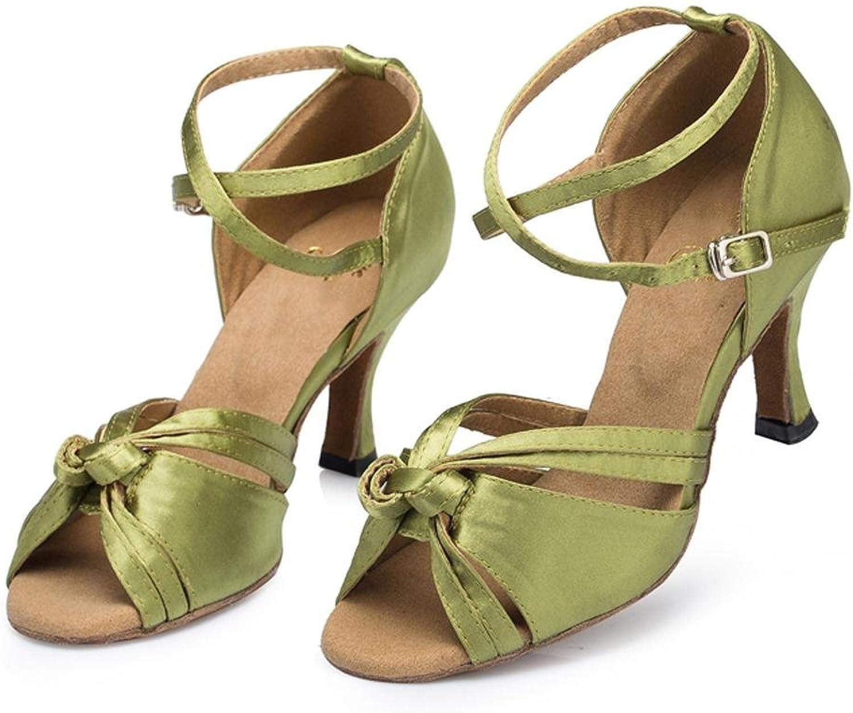 Sandaler Läder mocka Soft Soles Salsa Latin Samba Tango Tango Tango Ballroom High klackar Buckle Cross Strap Dance skor grön  trendig