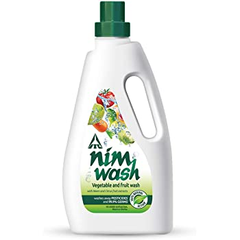 Nimwash Vegetable & Fruit Wash 1000 ml I 100% Natural Action, Removes Pesticides & 99.9% Germs,with Neem and Citrus Fruit Extracts , Safe to use on veggies and fruits  Disinfects veggies & fruits