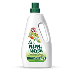 Nimwash Vegetable & Fruit Wash 1000 ml I 100% Natural Action, Removes Pesticides & 99.9% Germs,with