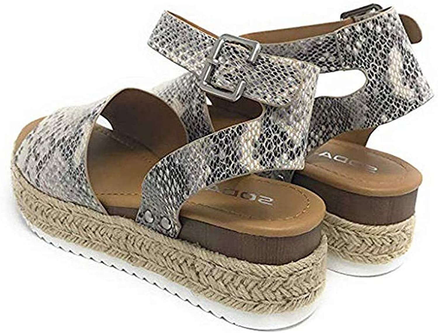 Sandals Women Summer Retro Wedges Peep Toe Buckle Ankle Strappy for Ladies Fashion Flat Lace Up 5 cm High Heels Leather Slingback Platform shoes Casual Comfy Espadrilles (Snake),Snake,40