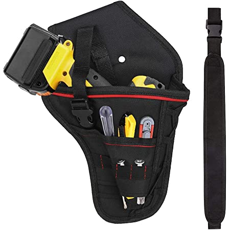 Double Pocket Organiser for Tools and for Small Parts STANLEY Leather Drill Holster 3 x Small Pockets for Drill Bits Organiser STST1-80118 with STANLEY Leather Tool Belt Pouch STST1-80116