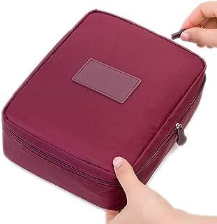 Zipper Man Women Makeup Bag Nylon Cosmetic Bag Beauty Case Make Up Organizer Toiletry Bag Kits Storage Travel Wash Pouch,Red Wine