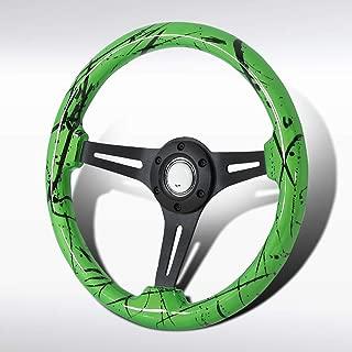 Autozensation Universal 350mm Watermelon Color Paint Black 3-Spoke Sport Wooden Steering Wheel