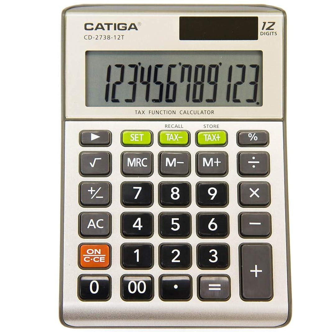 怖いソーシャル開示するCATIGA CD-2738-12T 標準機能計算機 ホームオフィス用 デュアルパワーデスクハンドヘルド電卓