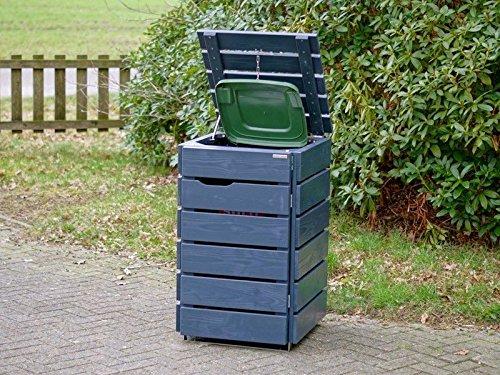 1er Mülltonnenbox 120 L Holz, Deckend Geölt Anthrazit Grau