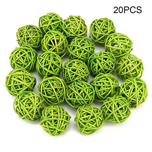 20Pcs Bolas de ratán para jardín Fiesta de bodas Decoración navideña Jarrón Rellenos Ramos Centros de mesa Arreglos Decoraciones Decoración de tuberías(Verde)