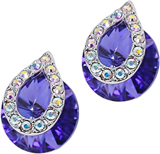 MOONSTONE Sparkling Round Shape With Pave AB Crystal Swarovski Elements Stud Sterling Silver Fashion Earrings For Women