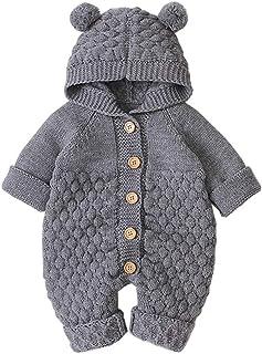 Mornyray ベビー服 ロンパース カバーオール ニット 長袖 帽子つき 前開き 春 秋 冬 コットン 女の子 男の子 0-24ヶ月