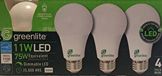Greenlite - 4 Pack - 11W LED Bulb 75W Equivalent - Dimmable A19 3000K Bright White