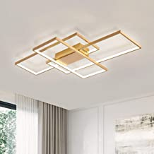 Ganeed LED Ceiling Light,Modern LED Ceiling Lamps with 3 Squares,75W Golden Flush Mount Ceiling Light Fixture for Dining L...