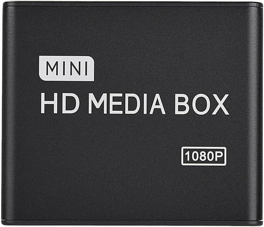 Zhiyavex 110-240V Media Player,Mini HD 1080P HDMI Media Player with Remote Control,Support USB, Mobile Hard Drive, SD Card,2.5T Mobile Hard Drive,Support SB MMC RMVB MP3 AVI MKV(US)