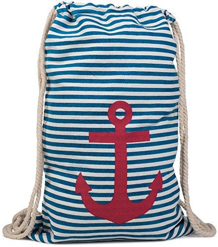 styleBREAKER zaino sportivo dal design marinaresco a righe con stampa di ancora, borsa da sport, unisex 02012052, colore:Blu-Bianco/Rosso