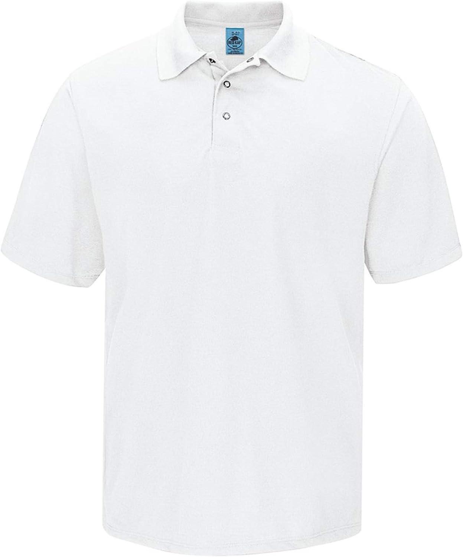 Red Kap Men's Big Short Sleeve, Gripper-Front Polo Shirt, White, 2X-Large