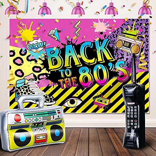 Set de Fiesta de 80 90 Incluye Caja de Auge de Radio Inflable 16,5 x 10,6 Pulgadas Telón de Fondo de Graffiti Aireado 5 x 3 Ft Teléfono Móvil Inflable 26 x 6 Pulgadas (Estilo Fresco)