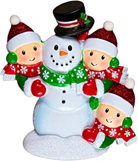 Personalized Building Snowman Family of 3 Christmas Tree Ornament 2019 - Parent Child Friend Red Hat Play Snowball Holiday Tradition Winter Activity 1st Gift Year - Free Customization (Three)