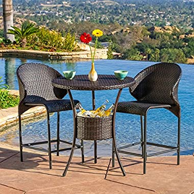 Patio Wicker Round Bar Table with Built-in Ice Pail (Table Only, Barstools Sold Separately)