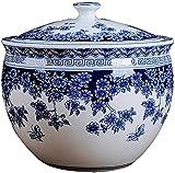 Jarrones decorativos Jarrón chino antiguo de jarrón azul y blanco, jarrón de jarra de jengibre de porcelana de cerámica, frasco de almacenamiento, tarro de galletas, recipiente de azúcar, contenedor d