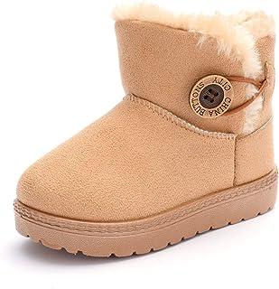 أحذية E-FAK للأولاد والبنات الصغار أحذية دافئة للشتاء سنو أحذية بايلي زر مسطحة في الهواء الطلق (طفل رضيع/طفل صغير)