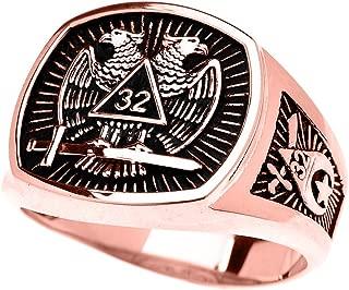 Men's 10k Rose Gold Shriners Freemason Masonic Ring
