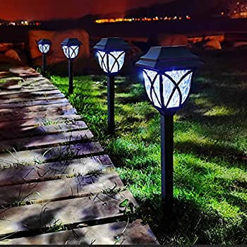 LAMTREE Solar Lights Outdoor Garden  Classic  8 Packs LED Solar Landscape Path Lights Ground Stake Lights for Lawn Patio Yard Pathway Walkway Driveway Sideway  Cool White