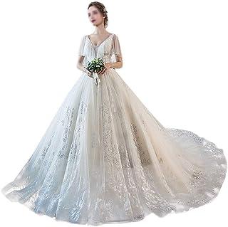 HXiaDyG Vestido de novia de cintura larga princesa fantasía, cuello en V, cuello en V, cola de un hombro, talla grande, ve...