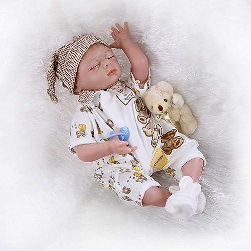 HOOMAI Lebensecht 22 Zoll 55 cm Reborn Baby Puppen Silikon Vinyl Junge Niedlich Wieder Geboren Babypuppen Kleider Outfit Magnetischer Mund Kinder Spielzeug Geschenk