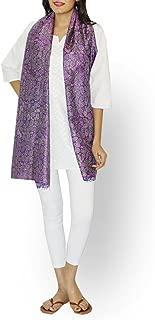Gleamberry Women's Block Print Kantha Stitch Handloom Pure Silk Stole