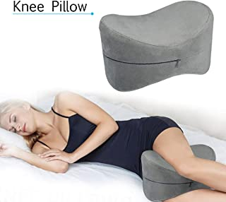 ESSORT Orthopedic Knee Pillow, Memory Foam Legs Positioner Pillow, Contour Knee Cushion for Sciatica Relief, Back Pain, Leg Pain, Hip and Joint Pain, Pregnancy and Side Sleeper (Gray)