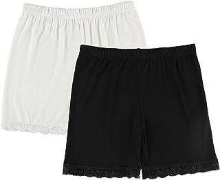 Spandex Mujeres Leggings Cortos Encaje Recorte 2-Pack