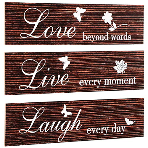 Jetec 3 Pieces Rustic Wood Sign Wall Decor Live Love and Laugh Quote Sign Farmhouse Wall Mount Decoration for Home Office Wedding Kitchen and Living Room, 12 x 3 x 0.2 Inch