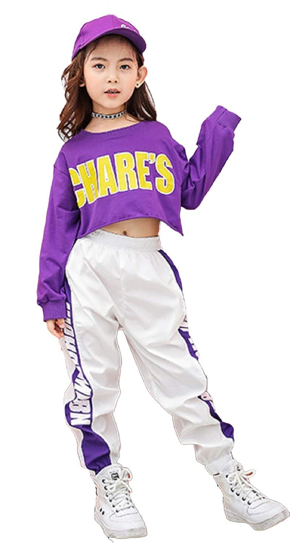 Godlovefull キッズ ダンス衣装 ダンス 衣装 ヒップホップ シャツ+パンツ 2点セット セットアップ 原宿系 ゆったり ガールズ 女の子 オシャレ jazz hiphop ダンスウェア 子供服 演出服 ストリート セール (パンツ, 130)