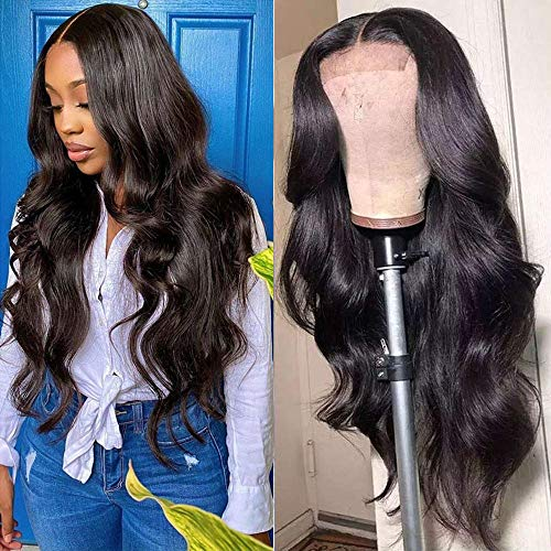 Karbalu Body Wave Lace Front Wigs Human Hair 4×4 Lace Closure Human Hair Wigs for Black Women Brazilian Virgin Human Hair Pre Plucked (4x4 body closure wig, 18inch)