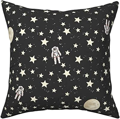 Amazon Com Roostery Throw Pillow Space Astronauts Stars Moon Night Astronaut Black Outerspace Print Linen Cotton Canvas Knife Edge Accent Pillow 18in X 18in With Insert Home Kitchen